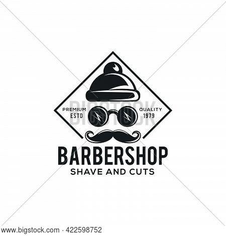 Creative Initials Barbershop Face Logo Modern Design, Barbershop Lampshades Become A Hat Symbol, Old
