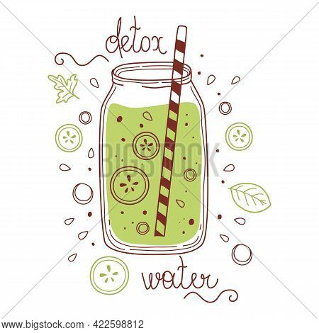 Green Water Detox Drink, Fruit Smoothie, Organic Lemonades In Glass Bottle, Jar And Jugs With Straws