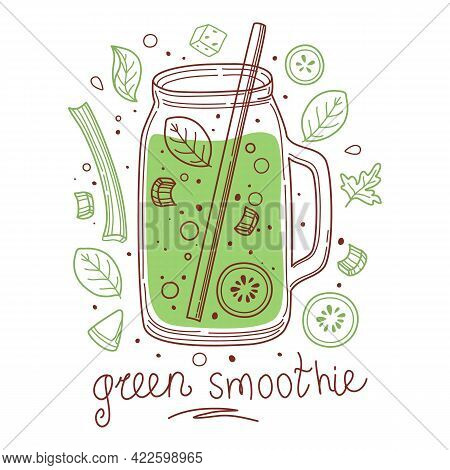 Summer Green Detox Drink, Fruit Smoothies, Organic Lemonade In Glass Bottle, Jar And Jugs With Straw