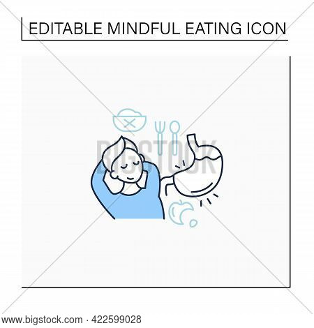 Fullness Signals Line Icon. Full Stomach. Satisfied Feeling.eating Intuitively. Conscious Nutrition.