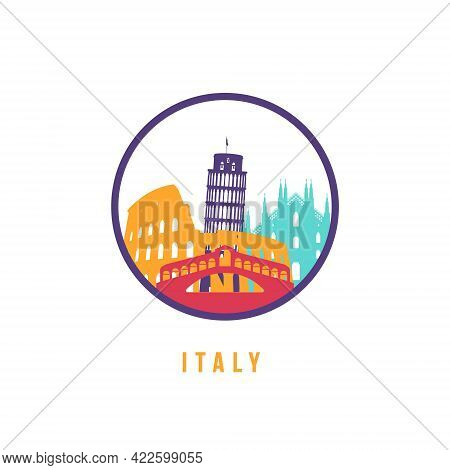 Famous Italy landmarks silhouette. Colorful Italy skyline round icon. Vector template for postmark,