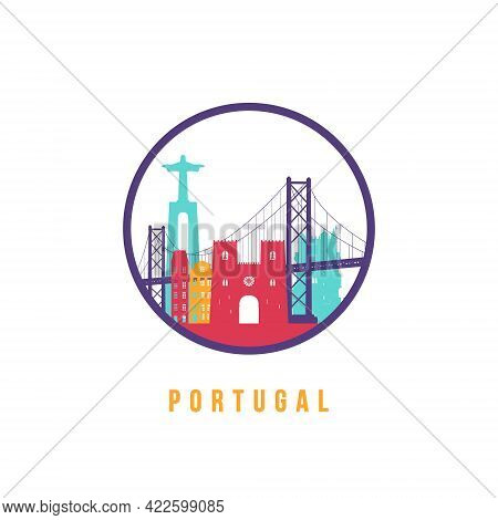 Famous Portugal Landmarks Silhouette. Colorful Portugal Skyline Round Icon. Vector Template For Post