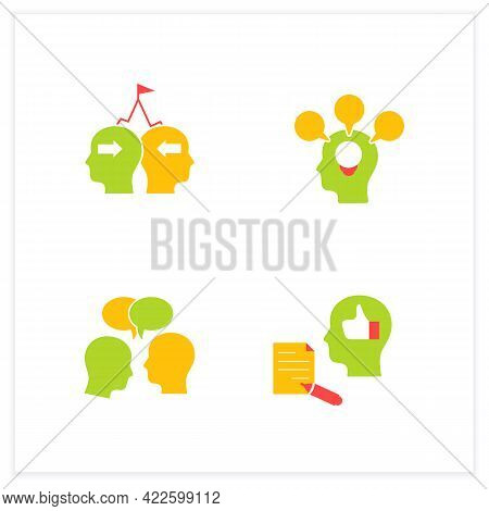 Conflict Management Flat Icons Set. Conflict Between Two Persons. Showing Respect, Feedback, Accommo