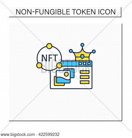 Nft Supermarket Color Icon.ability To Buy Non Fungible Tokens. Unique Digital Assets Market. Assets