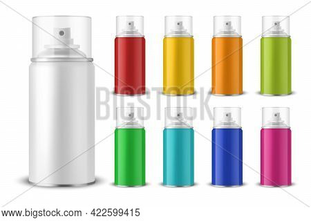 Vector 3d Realistic Aluminum Blank Spray Can, Bottle, Transparent Lid Set Isolated. Design Template,