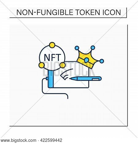 Nft Digital Art Color Icon.arts With Non Fungible Token Coins. Selling.represent Digital Files. Used