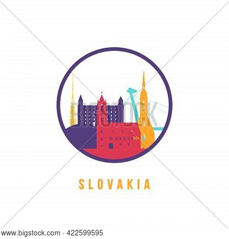 Famous Slovakia Landmarks Silhouette. Colorful Slovakia Skyline Round Icon. Vector Template For Post