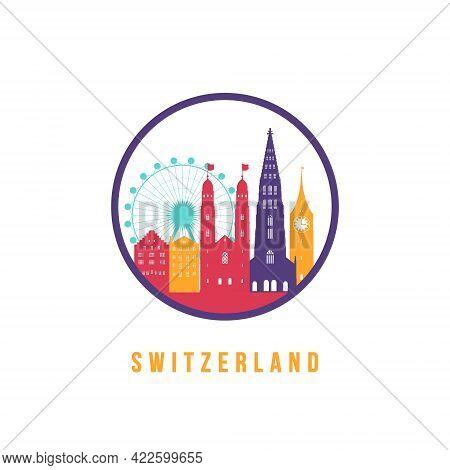 Famous Switzerland Landmarks Silhouette. Colorful Switzerland Skyline Round Icon. Vector Template Fo