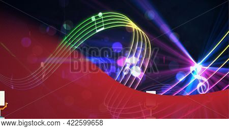 Composition of red curve, curved colourful music stave and notes over purple lights on black. audio sound visualisation concept digitally generated image.