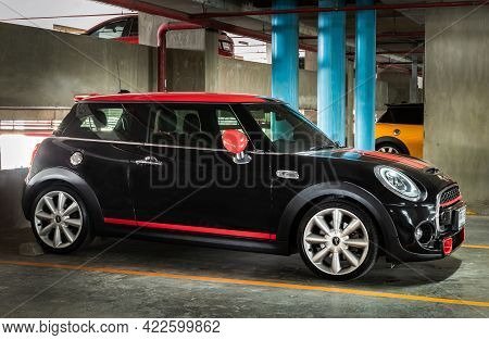 Bangkok, Thailand - 27 May 2021 : Side View Of Beautiful Black Mini Cooper Parked In The Parking Lot