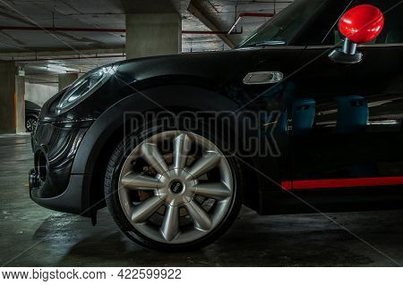Bangkok, Thailand - 27 May 2021 : Side View Of Headlights, Wheel, Hood, Sidelights And Side View Mir