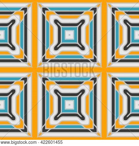 Seamless Pattern With Mosaic Tiles Of The Mediterranean. Vector Illustration