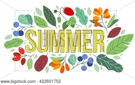 Big Summer Word Surrounded By Ripe Berries And Green Fresh Leaves Of European Forests Vector Flat St