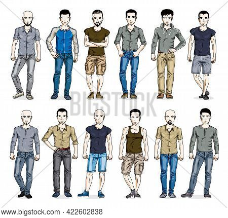 Men In Casual Wear Vector Illustrations Big Set Isolated On White Background, Attractive And Handsom
