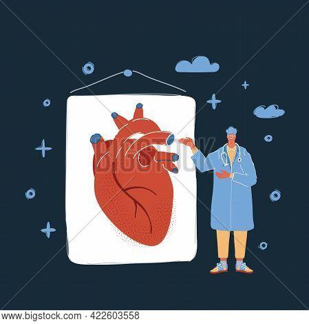 Vector Illustration Of Cardio Doctor Talk About Heart On Dark Backround.