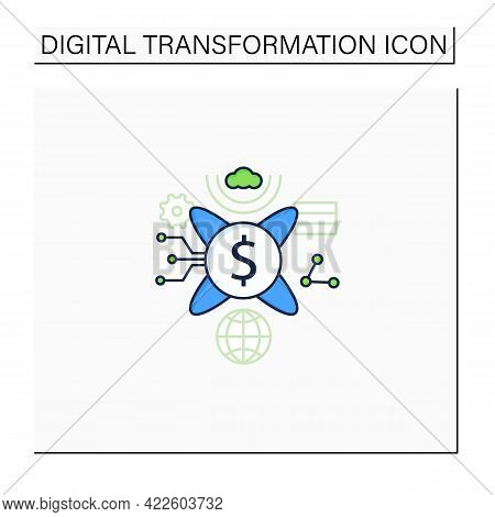 Tokenization Technologies Color Icon. Software Prevents Credit Card Theft Information. Protection Ba