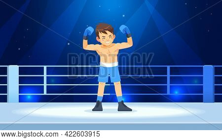 The Boy Champion Boxer Enjoys His Victory In The Ring Lights. Professional Boxing Among Young Guys.