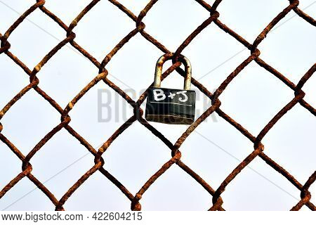 Love Lock At Walking Bridge Background Symbol Of Couples Eternal Love For One Another.