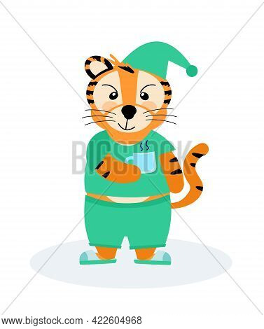 A Cheerful M-striped Tiger In Pajamas And Slippers With A Mug, The Symbol Of 2022. Vector Illustrati