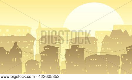 Horizontal Cartoon Stylistic Illustration Of Downtown Part Of The City With Roofs And Windows At Sun