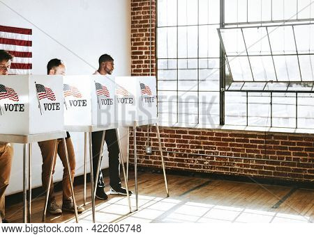 American people voting at a polling booth