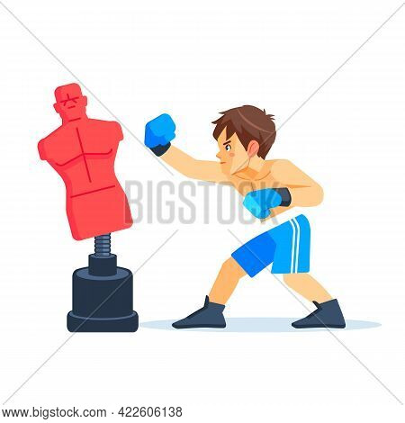 Boxer Boy Training With Punching Dummy. Teenager Boxing, Hitting A Punching Bag - Mannequin. Fitness