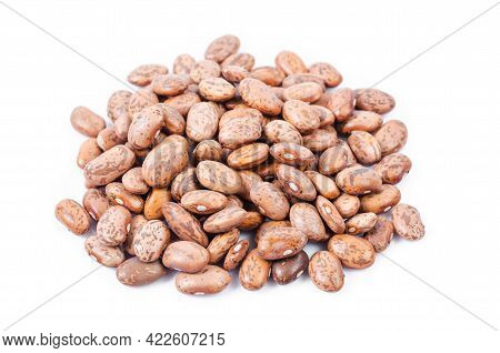 Raw Organic Cranberry Beans On White Background.