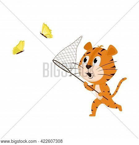 Tiger Runs With A Net, Catches Butterflies. Cute Cartoon Character. The Tiger Is The Symbol Of The Y