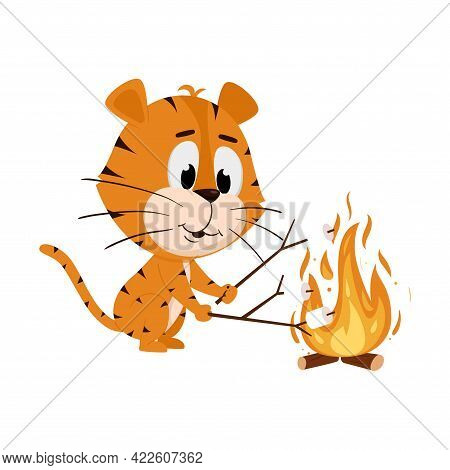 Tiger Roasts Marshmallows On A Wood Fire. Cute Cartoon Character. The Tiger Is The Symbol Of The Yea