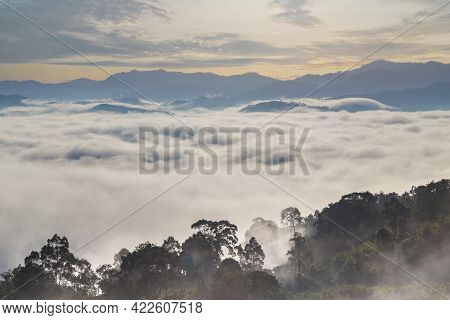 Khao Khai Nui, Sea Of Fog In The Winter Mornings At Sunrise, New Landmark To See Beautiful Scenery A