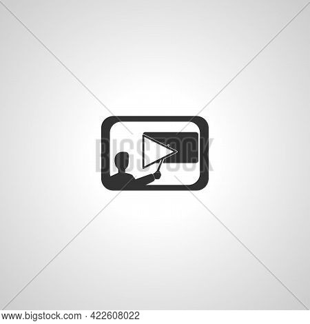 Distance Learning. Teleseminars. Online Lecture. Man At The Blackboard Vector Isolated Icon. Distanc