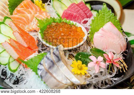 Close Up Ikura (salmon Roe) In Sashimi Set, Japanese Food Style.