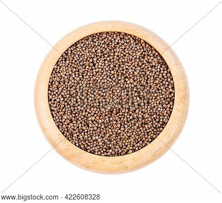 Perilla Herb Seeds In Wooden Dish Isolated On White Background.