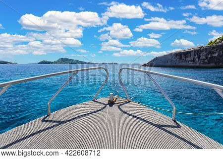 Scenic Of Prow Boat Over The Sea Of Similan Islands, Andaman Sea, National Park, Phangnga Province,