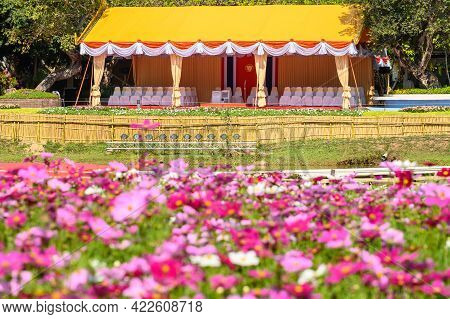 Chiang Rai, Thailand : 25/12/2019 : A Temporary Royal Chancel In Flowers Garden Builed For Royal Fam