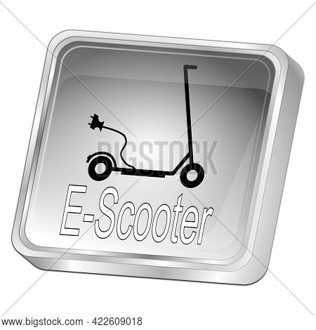 E-scooter Button Glossy Silver - 3d Illustration