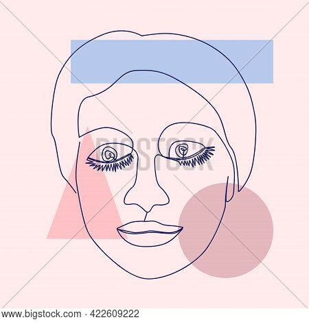 Minimalist Portrait Of Female Face By One Continuous Line. Hand Drawn Abstract Feminine Print On A B