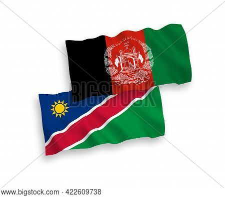 National Fabric Wave Flags Of Islamic Republic Of Afghanistan And Republic Of Namibia Isolated On Wh