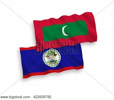 National Fabric Wave Flags Of Belize And Maldives Isolated On White Background. 1 To 2 Proportion.