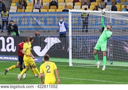 Kyiv, Ukraine - October 13, 2020: Goalkeeper Georgiy Bushchan Of Ukraine (r) In Action During The Ue