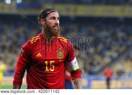 Kyiv, Ukraine - October 13, 2020: Portrait Of Spanish Footballer Sergio Ramos Seen During The Uefa N