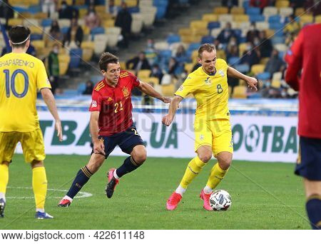 Kyiv, Ukraine - October 13, 2020: Mikel Oyarzabal Of Spain (l) Fights For A Ball With Yevhen Makaren