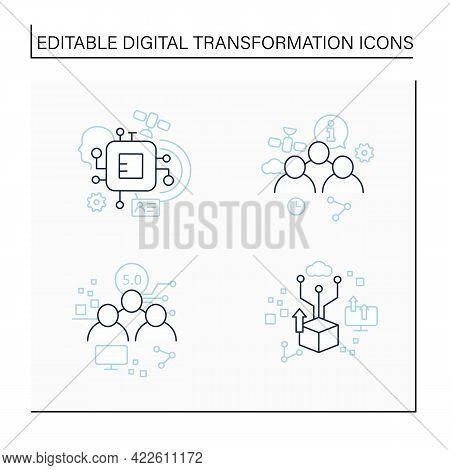 Digital Transformation Line Icons Set. Chipization, Digital Potential, Society 5.0, Information Soci