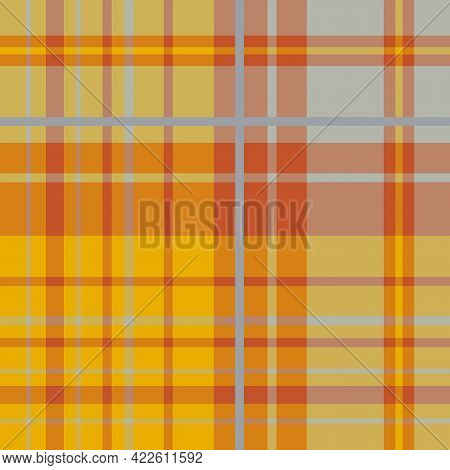 Seamless Pattern In Yellow, Orange And Grey Colors For Plaid, Fabric, Textile, Clothes, Tablecloth A