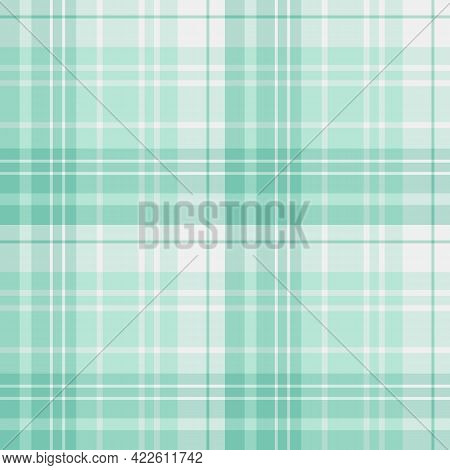 Seamless Pattern In Mint Green Colors For Plaid, Fabric, Textile, Clothes, Tablecloth And Other Thin