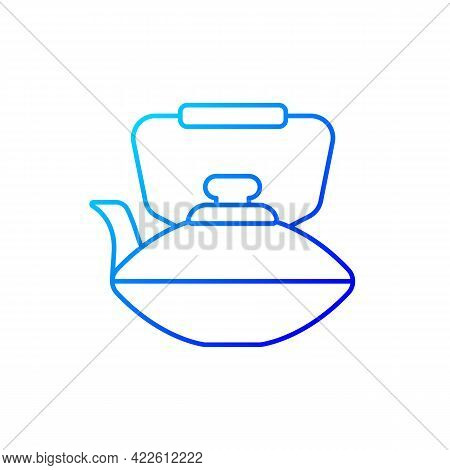 Chinese Iron Teapot Gradient Linear Vector Icon. National Types Of Dinnerware. Old Fashioned Kitchen