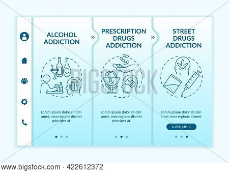 Addiction Types Onboarding Vector Template. Responsive Mobile Website With Icons. Web Page Walkthrou