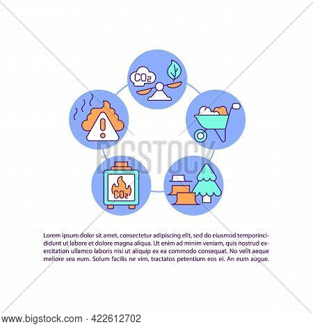 Agriculture, Forestry Emissions Concept Line Icons With Text. Ppt Page Vector Template With Copy Spa
