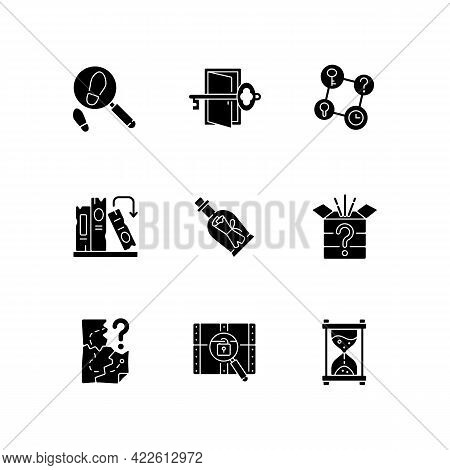 Puzzle Solving Black Glyph Icons Set On White Space. Investigate Footprints. Message In Bottle. Find