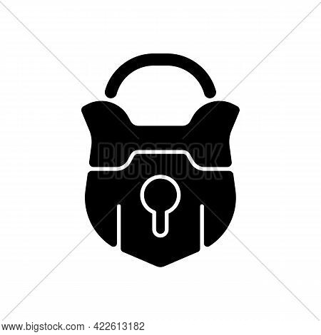 Lock Black Glyph Icon. Vintage Padlock. Unlock Safeguard. Solving Puzzles, Clues For Riddles. Part O